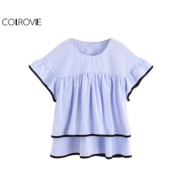 COLROVIE Contrast Trim Layered Button Back Top Cute O Neck Short Sleeve Blouse Ruffle Hem Shirt Blue Ladies Tops