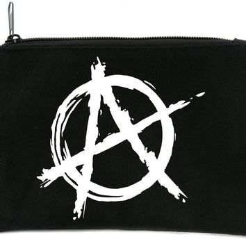 White Anarchy Cosmetic Makeup Bag Pouch Punk Oi Emo Alternative