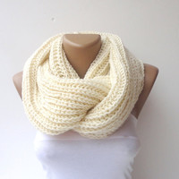scarf Infinity hand knitted women scarf  men ULTRA SOFT scarves loop circle scarf vanilla cream scarf