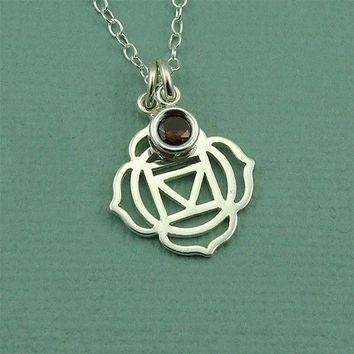 Root Chakra Gemstone Necklace - sterling silver hindu yoga necklace - buddhist jewelry - gift