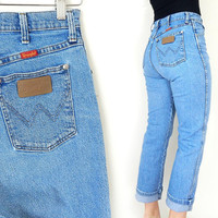Vintage 90s High Waisted Wrangler Blue Jeans - Size 9 - Straight Leg Faded Medium Blue Denim Cowgirl Dungarees