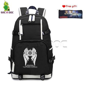 Anime Backpack School Supernatural Winchester Bros Sam Dean Castiel Canvas Backpack Womens Mens Daily Computer Bags School Travel Rucksack Case Gift AT_60_4