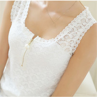 White Lace Shirt Fitness Hollow Out Shirt