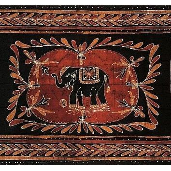 Lucky Elephant Batik Print Tapestry Wall Hanging Tablecloth Spread Throw Queen