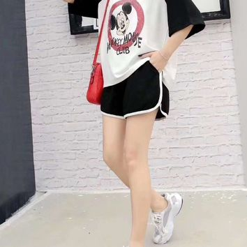 Woman's Leisure  Fashion Letter Mickey Mouse Printing Spell Color Short Sleeve Shorts Two-Piece Set Casual Wear