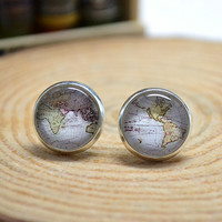 World Map Stud Earrings, Vintage Map Earrings Jewelry , Cabochon ear stud earring(1 pair)