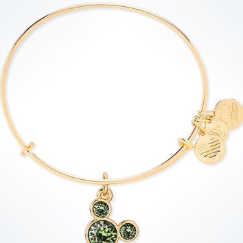 Disney Mickey Mouse Birthstone Bangle by Alex and Ani August Gold Finish New