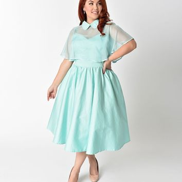 Unique Vintage Plus Size 1940s Style Mint Brushed Cotton Luna Swing Dress & Mesh Capelet