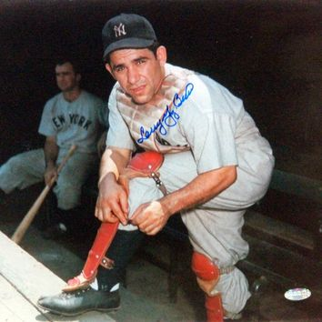 Larry Yogi Berra Putting On Shin Guard Signed 11x14 Horizontal Photo