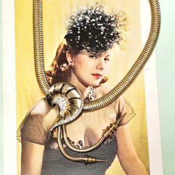Marcel Boucher Necklace and Fur Clip Rhinestone Gold Plated Metal Snake Chain Circa 1930s 1940s Art Deco Early MB Phrygian Cap Signed Piece