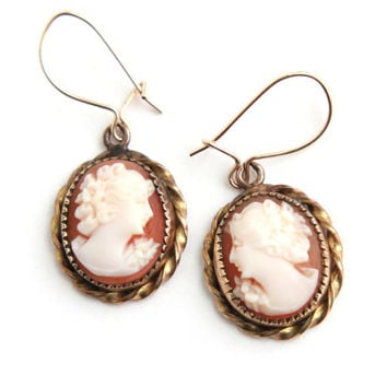 Vintage Cameo Dangle Earrings - Carved Shell Cameo 12K Gold Filled Jewelry / Elegant Victorian Busts