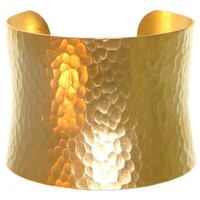 "Nickel Free 2"" Wide Hammered Metal Cuff Bracelet, Quality Made in Usa, Girlprops' Exclusive!, in Gold Tone with Matte Finish"