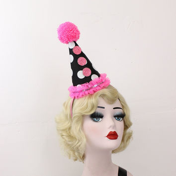 Pink Clown Hat, Circus Costume, Black and White Polka Dot, Handmade Pom Pom, Burlesque, Halloween Costume, Carnival