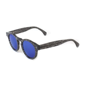 Leonard Round Frost-Pattern Sunglasses with Mirror Lens, Black - Illesteva