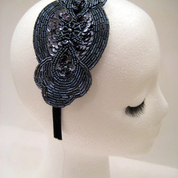 Flapper style headband hairband art deco accessories Great Gatsby Downton Abbey Boardwalk Empire art deco hematite beaded sequin 1920s/1930s