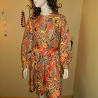 Authentic 1960S ADELE style Dress.seen on Mad Men.Silk belt.Hippie.BOHO .Paisley pattern W/Bright Orange Swirls .Perfect for Fall & winter