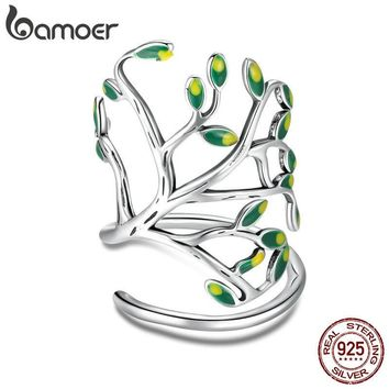 BAMOER 925 Sterling Silver Tree of Life Green Tree Leaves Adjustable Finger Rings for Women Sterling Silver Jewelry SCR454