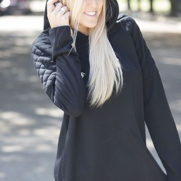 Quilted Shoulder Hooded Sweatshirt