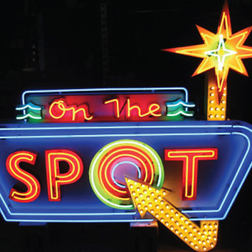 Vintage 1970's ON THE SPOT Large Antique Multi-colored Neon Sign / bar club