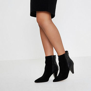 Black zip back cone heel leather ankle boots - Boots - Shoes & Boots - women