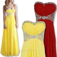 Sweetheart Chiffon Evening Formal Party Ball Gown Prom Bridesmaid Long Dresses