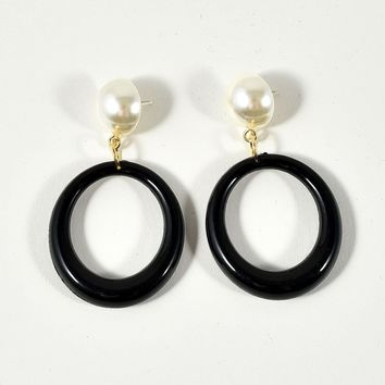 Black Hoop & Ivory Pearl Stud Drop Earrings