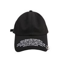 Lettering Embroidery Ring Accent Cap