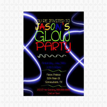 Printable Neon Boy Glow Party Invitation. Glow Birthday Party Invitation.  Neon Invite Rave.  Printable Invitations. Underground Party PDF.