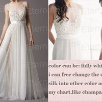 2014 new arrival wedding dress/Sheer Neckline with lace bodices tulle skirt with sash/floor length wedding dress/sexy back