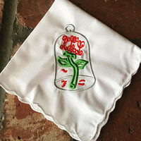 Monogrammed wedding handkerchief- Beauty and the Beast inspired wedding- enchanted rose- by Wedding Tokens