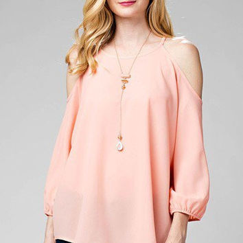 Open Shoulder Woven Blouse - Peach