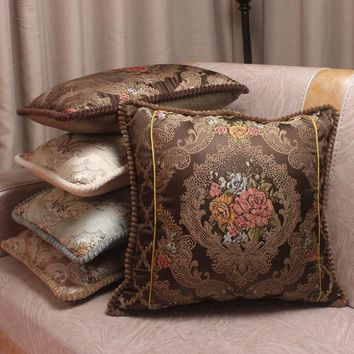 Luxury Tribute Silk Jacquard Decorative Cushion Covers / Brief Floral European Style Vintage Satin Waist Pillow Covers for Sofa