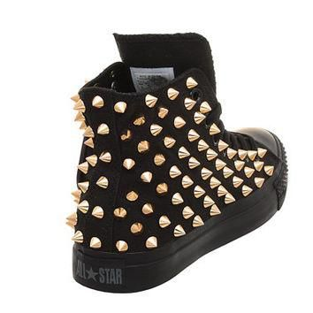 Studded Converse, Converse All Black High Top with Gold Cone Rivet by CUSTOMDUO on ETS