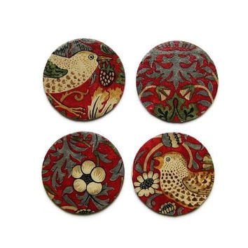 William Morris Strawberry Thief, Arts and Crafts, red, beige, gold  fabric decoupage set of four cork coasters, drinks mats.