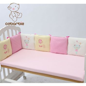 6-14Pc/Lot Infant Crib Bumper Bed Protector Baby Kids Cotton Cot Nursery bedding Pink Cat Square Shape Pillow for girl