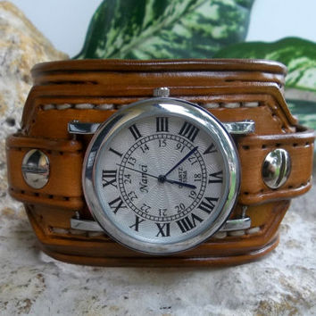 Mens watch cuff,  leather wrist watch, Light brown men's leather cuff, watch bracelet