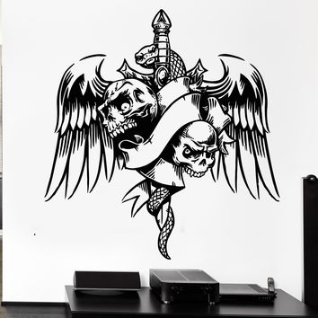 Wall Decal Skull Snake Bird Wings Sword Dagger Weapons Vinyl Decal Unique Gift (ed349)