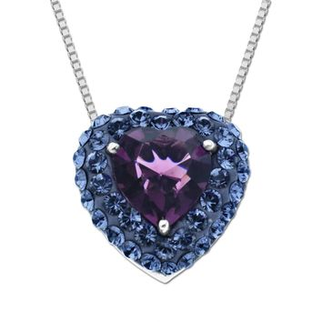 Sterling Silver Purple Heart Pendant made with Swarovski Elements, 18""