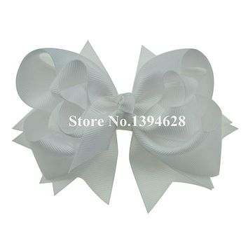 $1/1PCS 5 inches 3 Layers Solid White Bows With 6cm Clips Boutique Ribbon Bows For Girls Hair Accessories