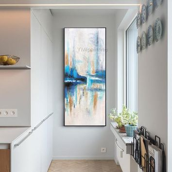 Abstract bule white  Original Painting acrylic paintings on Canvas heavy texture Abstract Gold extra large Wall Art Pictures for living room