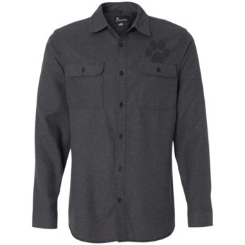 Paw Print Long Sleeve Flannel Shirt