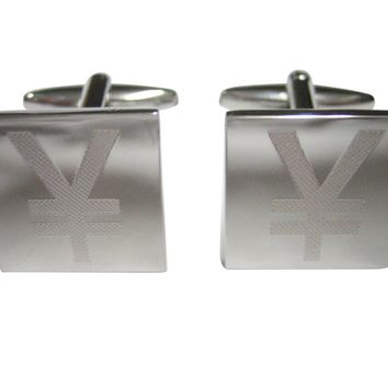 Silver Toned Etched Japanese Yen Currency Sign Cufflinks