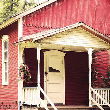 One Room School House Photograph, Rustic Home Decor, Country Home Decor, Pennsylvania Art, Historic Art, Primitive Decor, Red, Teacher Gift