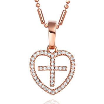 Small Tiny Cute Eternity Cross Heart Symbol Gold-Tone Protection Powers Crystals 18 Inch Necklace