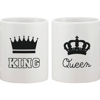 King and Queen Couple Coffee Mug- Matching Ceramic Mugs Gift for Couples