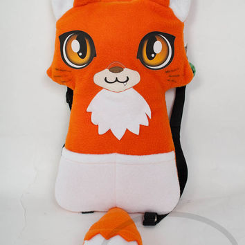 Orange Fox Kitsune Backpack,  Bag, Plush Animal, Handmade