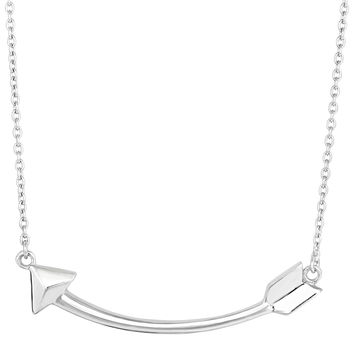 Sterling Silver Sideways Curved Arrow Necklace - 18 Inch