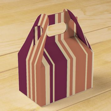 Brown Red Bittersweet Stripes Pattern Favor Box