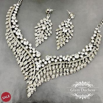 Bridal V Shape Necklace Earrings Jewelry Set