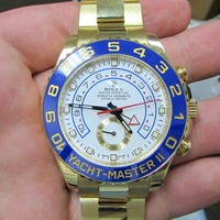 Rolex Yachtmaster II White Arabic Dial Oyster Bracelet 18k Yellow Gold Mens Watch 116688
